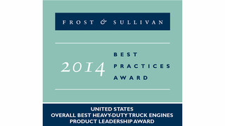 Cummins Recognized by Frost & Sullivan as 2014 Overall Best Heavy-Duty Engine Supplier