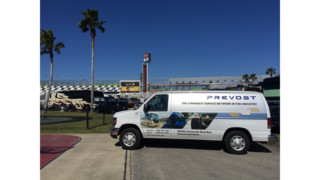 Prevost Service Trucks Servicing Select NASCAR Tracks