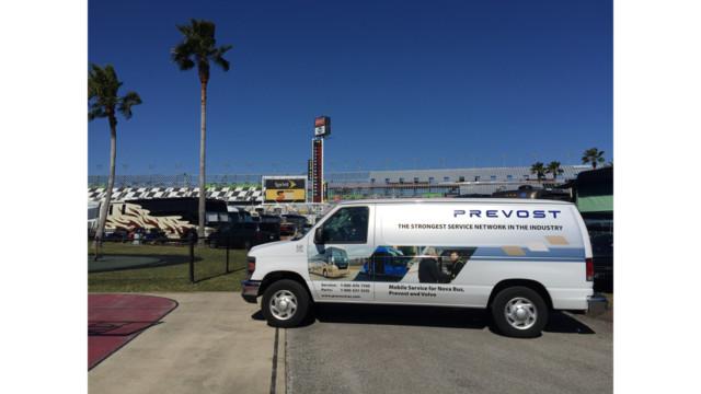 Prevost Service Trucks Servicing Select NASCAR Tracks