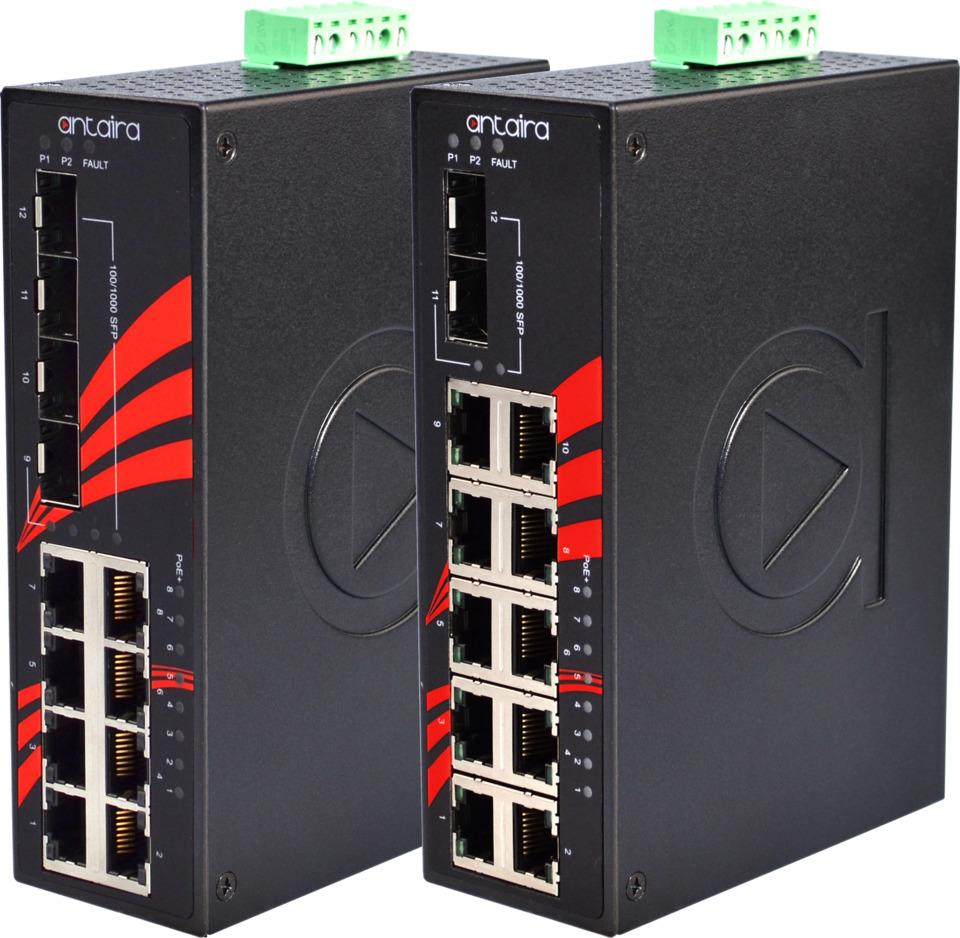 Antaira Technologies LNP-1202G-SFP Industrial PoE+ Gigabit