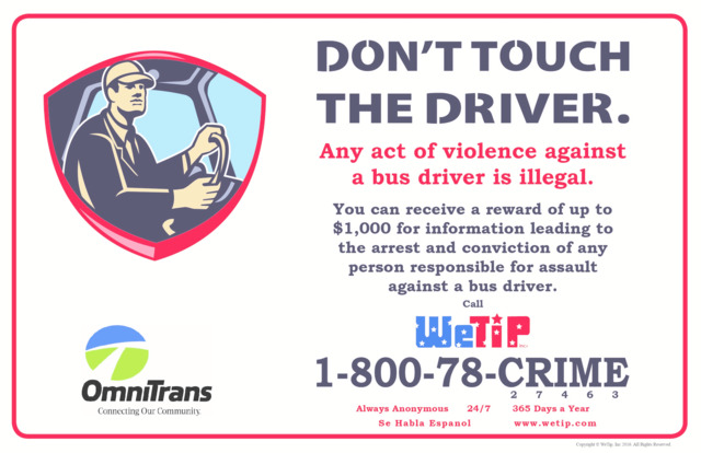 "Omnitrans Introduces ""Don't Touch the Driver"" Safety Campaign"