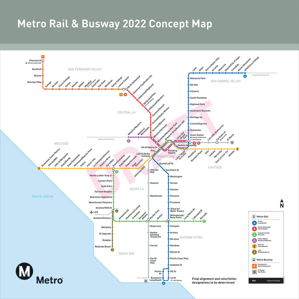 La Metro Map 2018.L A Metro Board Approves Renaming Routes With Colors And Letters