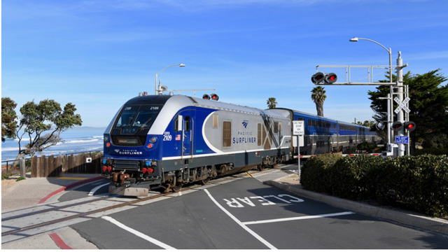 Amtrak Pacific Surfliner works with the Los Angeles Angels