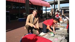The T turns Intermodal Transportation Center Plaza into Student Art Canvas