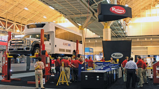 Rotary Lift Booth Features Three New Heavy-Duty Bus Service Lifts