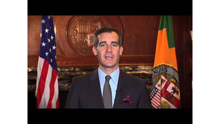 Los Angeles Mayor Eric Garcetti Speaks to Mobility 21 Summit