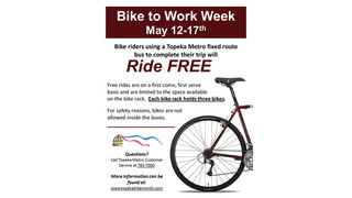 "KS: Topeka Metro Offers ""Bike to Work Week"""